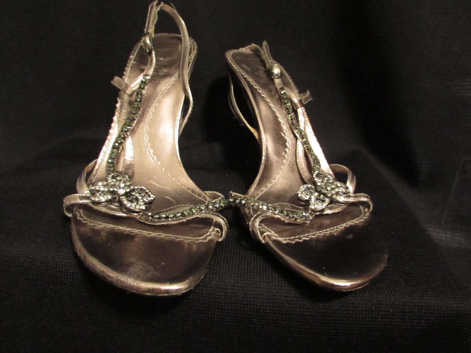 Two Lips Women's Jeweled Upper Statement Silver/Pewter Sandal Size: 9 M