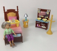Fisher Price Loving Family Dollhouse Bedroom Lot Bed Tray Grandma Sink T... - $29.35
