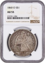 1860-O $1 NGC AU55 - Popular New Orleans Mint - Liberty Seated Dollar - $1,076.70