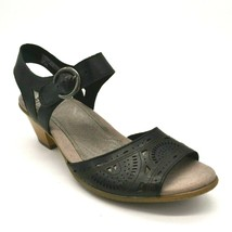 Earth Women Carson Westport Leather Wedge Slingback Sandals Black Size 8... - $37.99