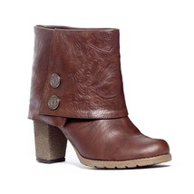Muk Luks Women's Chris Embossed Chunky Sole Boot Chocolate Brown 7 M US - $43.00