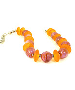 Orange and Pink Unique  Resin Choker Necklace One of a Kind Statement Je... - $85.00