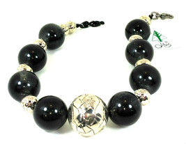 Black Resin and Acrylic Choker Necklace Bold Handcrafted Jewelry( 1475) - $90.00