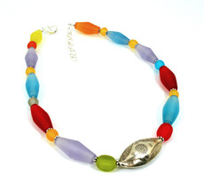 Multi Colored Resin  and Silver Trendy Choker Necklace  One of a Kind Creative J - $129.00