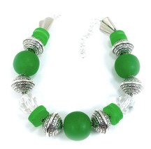 Green Resin and Acrylic  Classic Choker Necklace  One of a Kind handcrafted Jewe - $120.00