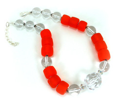 Orange Resin and Lucite Modern Choker Necklace  One of a Kind Handcrafted Jewelr - $95.00