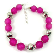 Hot Pink  Resin Trendy Choker Necklace One of a Kind Jewelry (1506) - $80.00