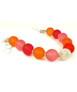 Orange and Pink Unique  Resin Choker Necklace One of a Kind Statement Je... - $99.00
