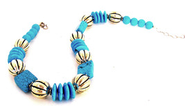 Turquoise and German Silver  Choker Necklace Classic Handcrafted jewelry ( 1403) - $140.00