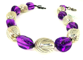 Purple Resin  and Acrylic  Choker Necklace Trendy One of a KInd Bold Jewelry( 14 - $75.00