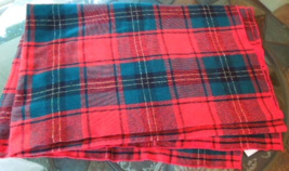 """Lovely Red and Green Plaid 53""""x70"""" Tablecloth with Gold Thread Accents  #6387  - $14.99"""
