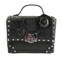 Michael Kors Tina Black Leather Camellia Floral Trunk Box Satchel Bag NWT - $212.36