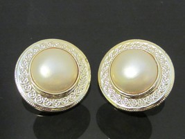 Vintage Jewelry Gold-Tone Faux Pearl Clip On Earrings  - $6.99