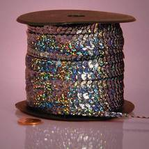 5 yards 6mm Pewter Holographic Sequins Ribbon - $5.00