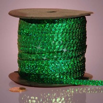 5 yards 6mm Emerald Holographic Sequins Ribbon - $5.00