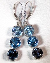 Blue Topaz Tri-Color Sterling Silver Earrings 13.5 cttw MADE IN USA - $249.00