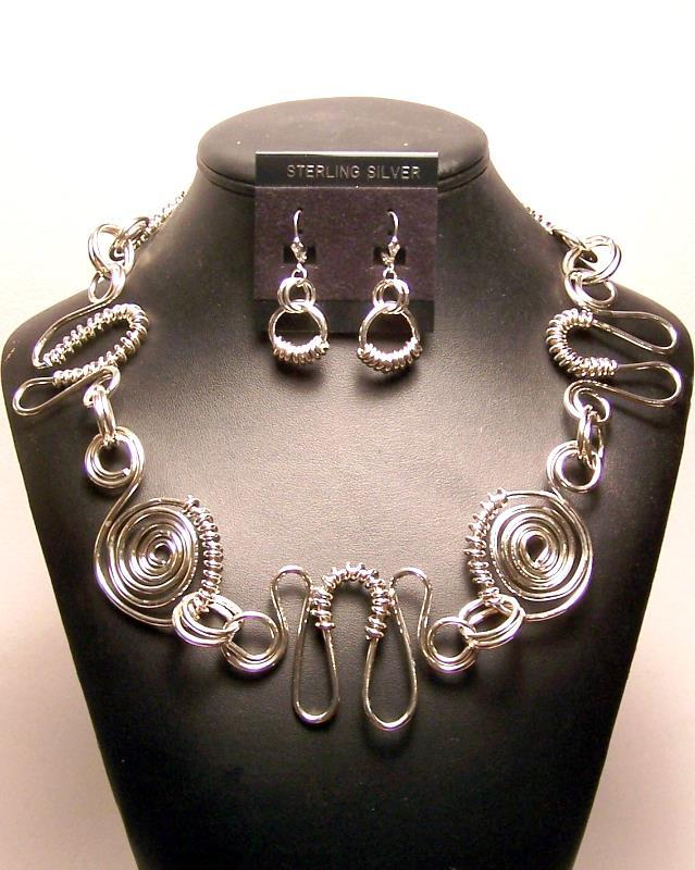 Primary image for Sterling Silver Spirals & Swirls Necklace Earrings Set MADE IN USA