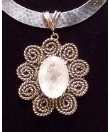 Rutilated Quartz Sterling Silver Pendant Slide OOAK Handcrafted IN USA - $195.00
