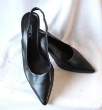 "Women's Size 7M  Jessica  Black Slingback Heels Pointed Toe 2"" Heels - $8.12"