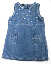 Girl Size  XS 4/5 Gap Denim Jean Jumper Dress Cotton Blue Embroidered Fl... - $10.77
