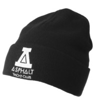 Asphalt Yacht Club Mens Black Solid Triangle Cuff Fold Skate Beanie Winter Hat image 1