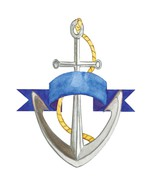 Anchor Blue Ribbon-Digital Download-ClipArt-Art... - $3.00