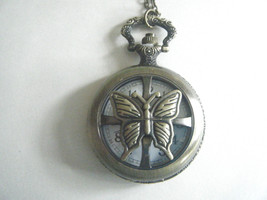 Steam Punk Pocket Watch Necklace Gold Tone Ornate Quartz New With Tag - $19.55