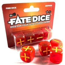 Fate Dice Fire Red with Yellow Dice 4ct Evil Hat Productions EHP9019 - $9.25