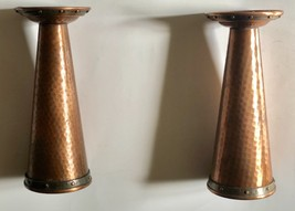 1920s Arts and Crafts Hammered Copper and Brass Pair of Candlesticks 9.5... - $999.95
