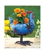 Ceramic Planter Metal Rooster Animal Deck Porch Flower Pot Indoor Outdoo... - $24.40