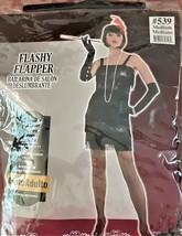 Halloween Costume Flashy Flapper Adult Medium Roaring 20s Black - $14.15