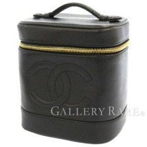 CHANEL Vanity Bag Caviar Leather Black Cosmetic Pouch A01998 France Auth... - $925.00