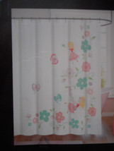 Cynthia Rowley Swinging Fairy Kids Juvi Pink White Fabric Shower Curtain... - $22.76