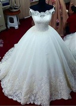 Marvelous Tulle Off-the-shoulder Neckline Ball Gown Wedding Dress - $471.00