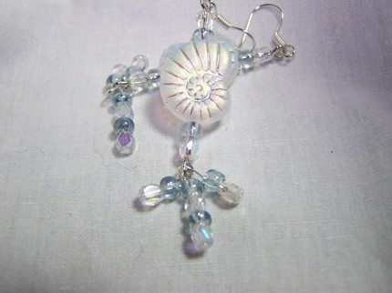 Nautical glass shell 2 1/2inch silver dangle earrings