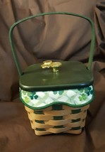 Longaberger 2009 ST PATRICKS DAY LUCKY WISH Basket Liner Wood Lid Protect - $39.95