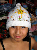 Woolen hat with embroidery, cap made of alpaca wool - $17.00