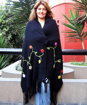 Embroidered shawl, wrap made of pure Alpacawool  - $126.00