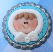 Eskimo Girl Polymer Clay Bottlecap Needle Minder cross stitch needle acc... - $8.00
