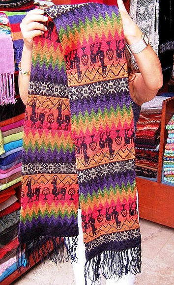 Primary image for Multicolour ethnic peruvian scarf, pure Alpacawool