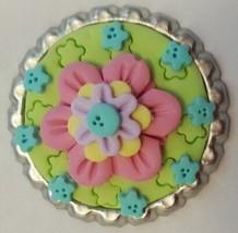 Pink Flower Polymer Clay Bottlecap Needle Minder cross stitch accessory - $8.00
