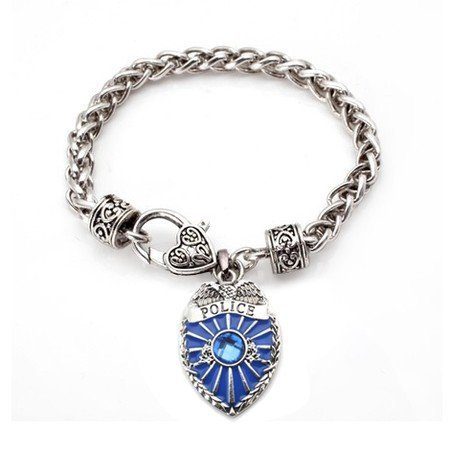 Primary image for Blue Police Badge Classic Silver Plated Charm Bracelet Jewelry [Jewelry]