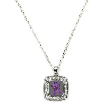 Primary image for Fibromyalgia Awareness Classic Silver Plated Square Crystal Necklace [Jewelry]