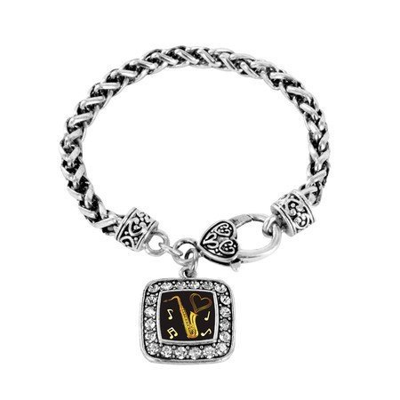 Primary image for Saxophone Musician Band Charm Classic Silver Plated Square Crystal Bracelet
