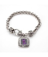 Fibromyalgia Awareness Classic Silver Plated Square Crystal Charm Bracelet - $9.80