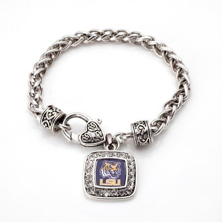 Primary image for LSU Tigers Classic Silver Plated Square Crystal Charm Bracelet [Jewelry]