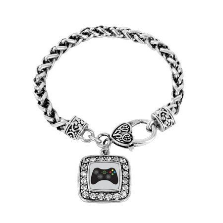 Primary image for Gamer Girl Gaming Classic Silver Plated Square Crystal Charm Bracelet [Jewelry]