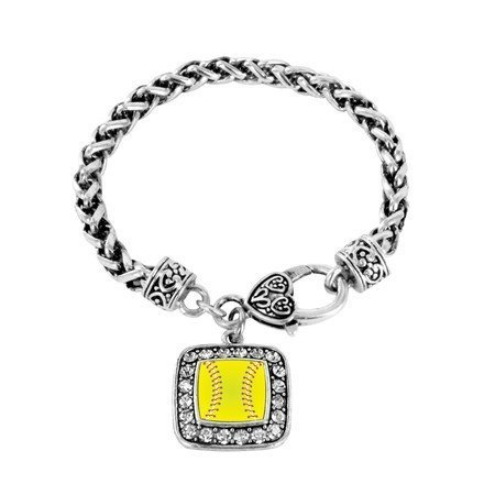 Primary image for Softball Player Charm Classic Silver Plated Square Crystal Bracelet [Jewelry]