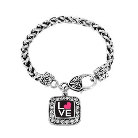 Primary image for Love Heart Charm Classic Silver Plated Square Crystal Bracelet [Jewelry]