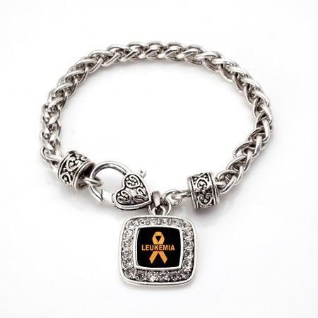 Primary image for Leukemia Awareness Classic Silver Plated Square Crystal Charm Bracelet [Jewelry]